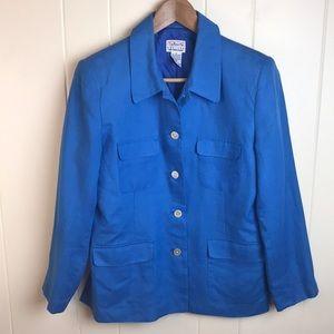 3/$27 Talbots Blue Irish Linen Blazer